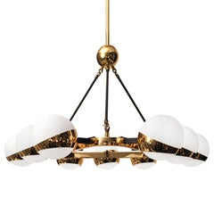 Midcentury Triangular Nine Globe Brass Chandelier in style of Stilnovo