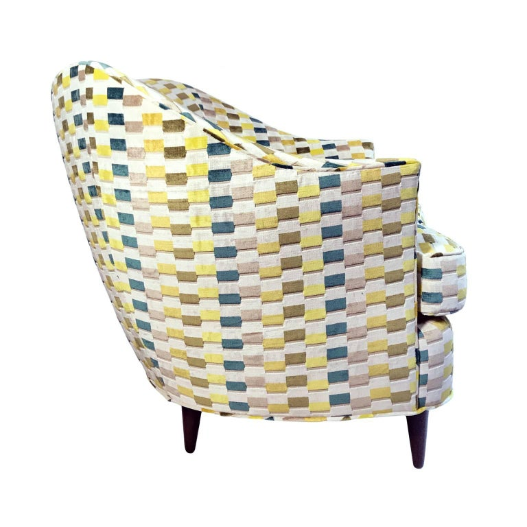 Flair Home collection custom Gio curved back armchair in a multicolored textured velvet bar upholstery.