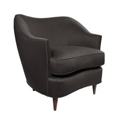 Flair Home Collection Custom Gio Curved Back Armchair in Deep Brown Satin