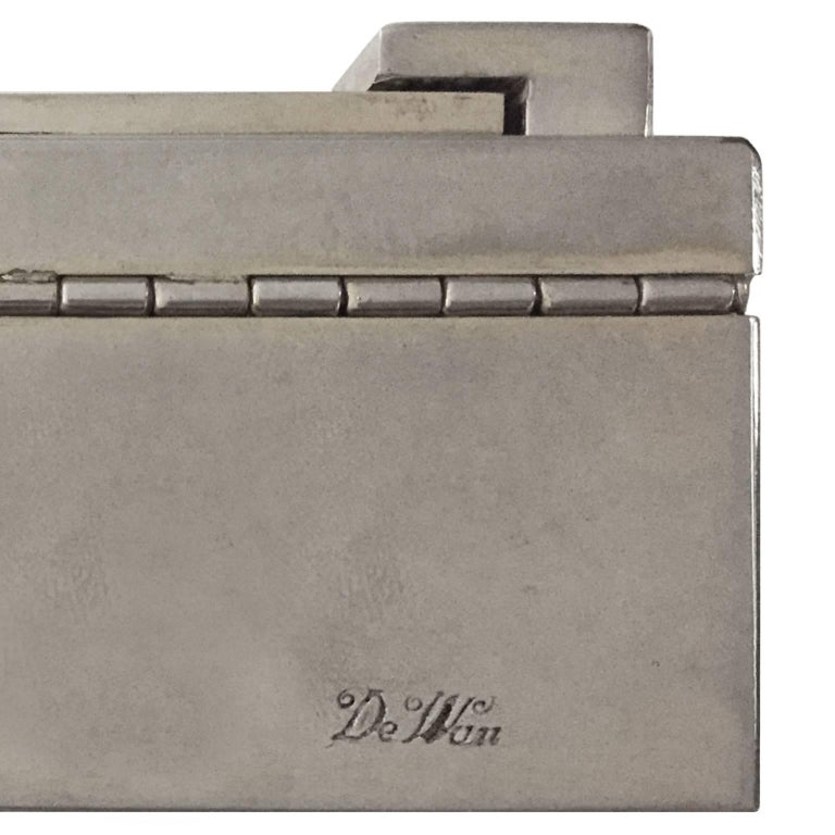 1970s Italian Rectangular Silver Box with Braided Detail by De Wan For Sale 1