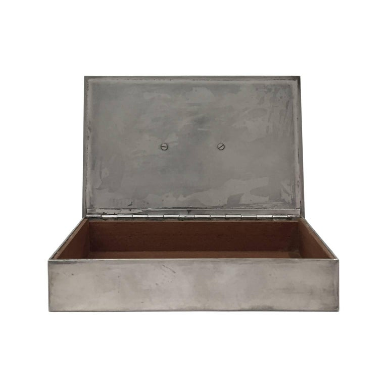 Late 20th Century 1970s, French Rectangular Silver Box with Coin Lid Detail by Christian Dior For Sale