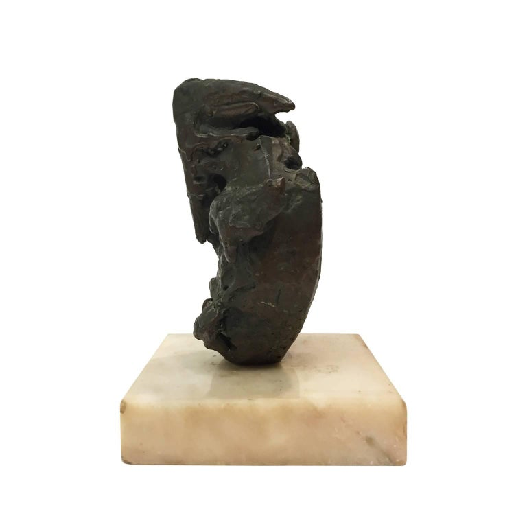Small Midcentury Abstract Bronze Sculpture on Marble Base 2