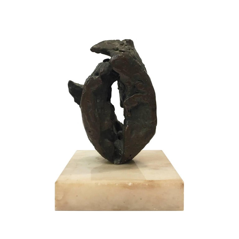 Small Midcentury Abstract Bronze Sculpture on Marble Base 3