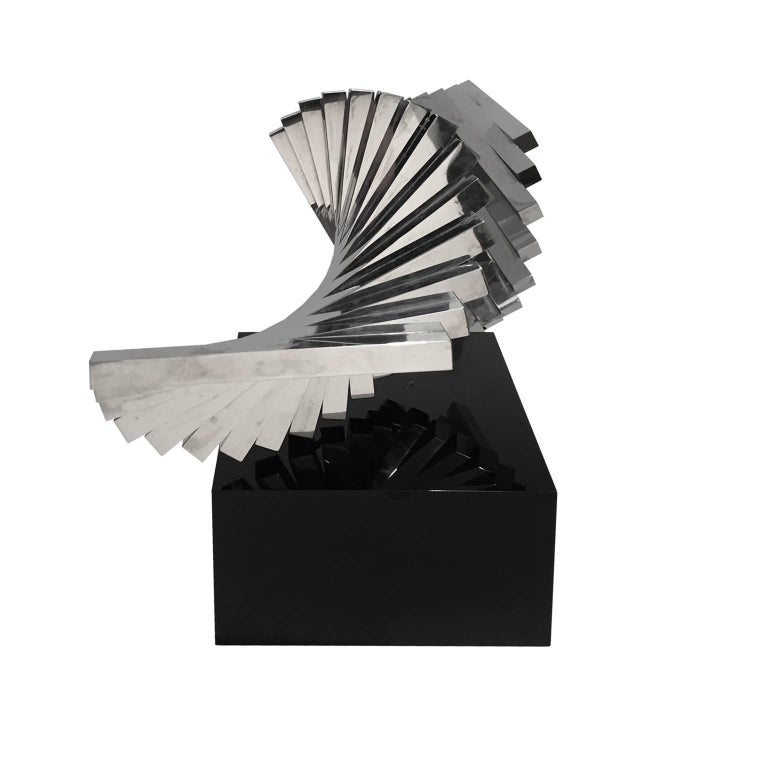 1970s Stainless Steel Bar Spiral Sculpture on Black Lucite Base 3