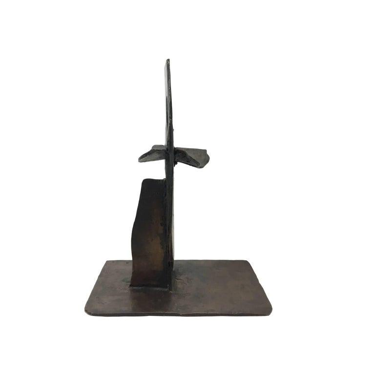 Abstract geometric bronze sculpture, USA, 1970s.