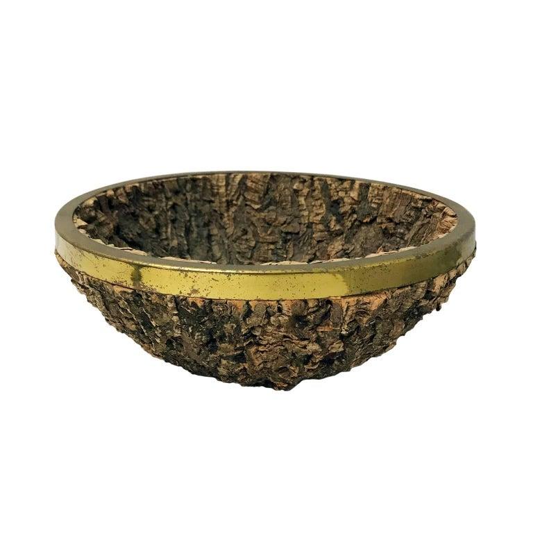 1970s Italian Round Bark Bowl with Brass Rim by Gabriella Crespi