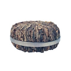 1970s Italian Round Bark Box with Stainless Steel Band by Gabriella Crespi