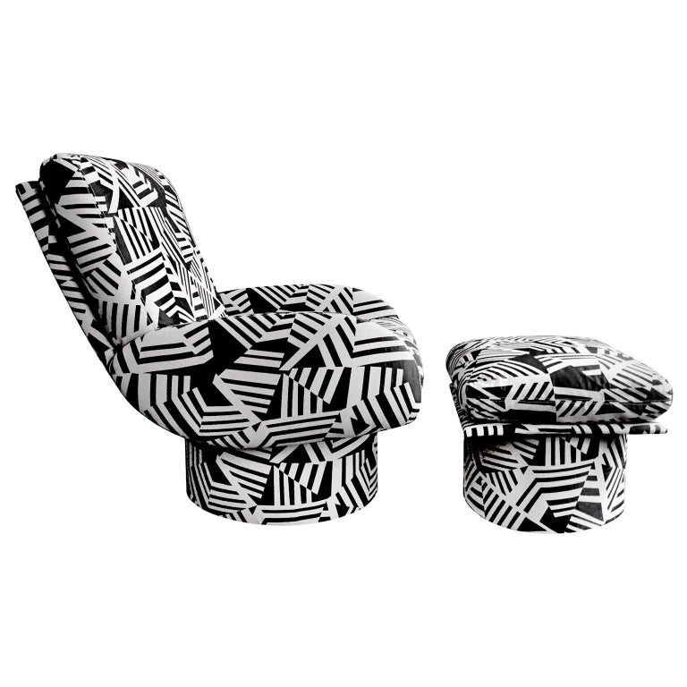 Paul Evans swivel lounge chair and ottoman reupholstered in a black and tan patterned fabric. USA, 1970's.