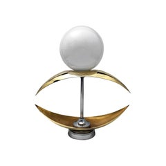 1960s French Brass and Glass Globe Accent Table Lamp