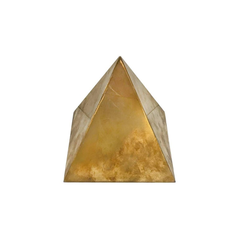 1970s Small Decorative Brass Pyramid by Sarried Ltd