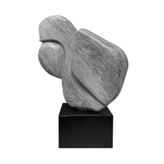 1970s Large Abstract Marble Sculpture on Metal Base