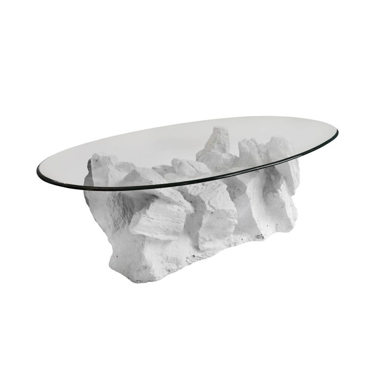 1970s Sirmos Plaster Rock Quarry Coffee Table with Oval Glass Top