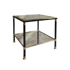 Midcentury Belgian Two-Tier Black and Brass Square Side Table