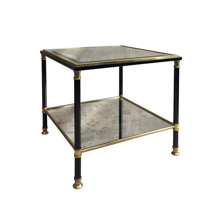 Midcentury Belgian TwoTier Black And Brass Square Side Table For - Black and brass side table
