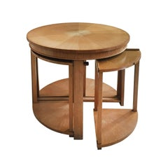 Midcentury Round Sycamore Side Table with Four Nesting Tables by De Coene