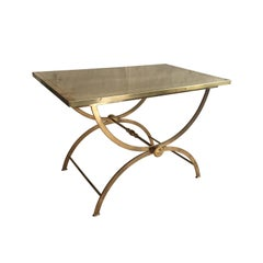 Midcentury French Rectangular Polished Brass Side Table with Curved X Base Legs