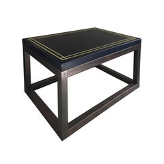 Midcentury Rectangular Side Table with Navy Lacquered Top and Bronze Base