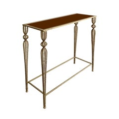 Midcentury French Rectangular Gold Metal Mesh Leg Console with Copper Glass Top