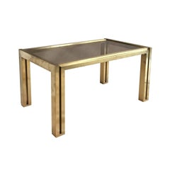 1970s French Rectangular Brass Side Table with Cut-Out Legs and Smoke Glass Top