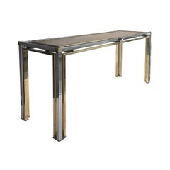 1970s Rectangular Brass and Chrome Console with Smoke Glass Top by Romeo Rega
