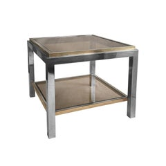 1970s French Square Two-Tier Brass and Chrome Side Table by Jean Charles