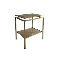 1970s Small Rectangular Two-Tier Brass Side Table by Guy Lefevre
