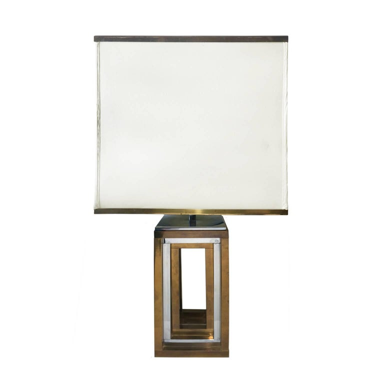 Square Brass and Chrome Table Lamp with Original Brass Banded Shade by Romeo Reg
