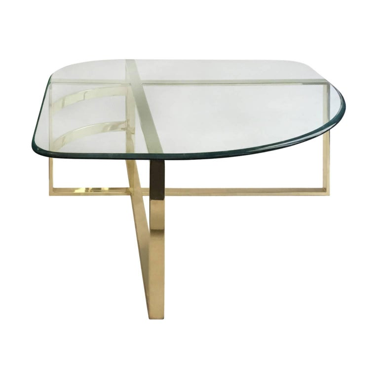 1970s Brass Coffee Table with Rounded Triangular Glass Top