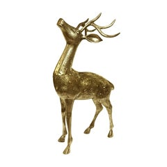 1970s Standing Brass Deer with Antlers