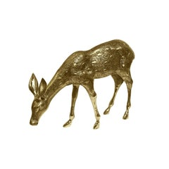 1970s Grazing Brass Deer
