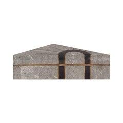 Triangular Grey Stone Box with Brass and Black Stone Inlay by Maitland Smith