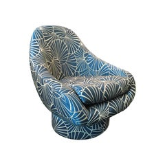 Tufted Swivel Chair in Blue Frond Upholstery by Steve Chase