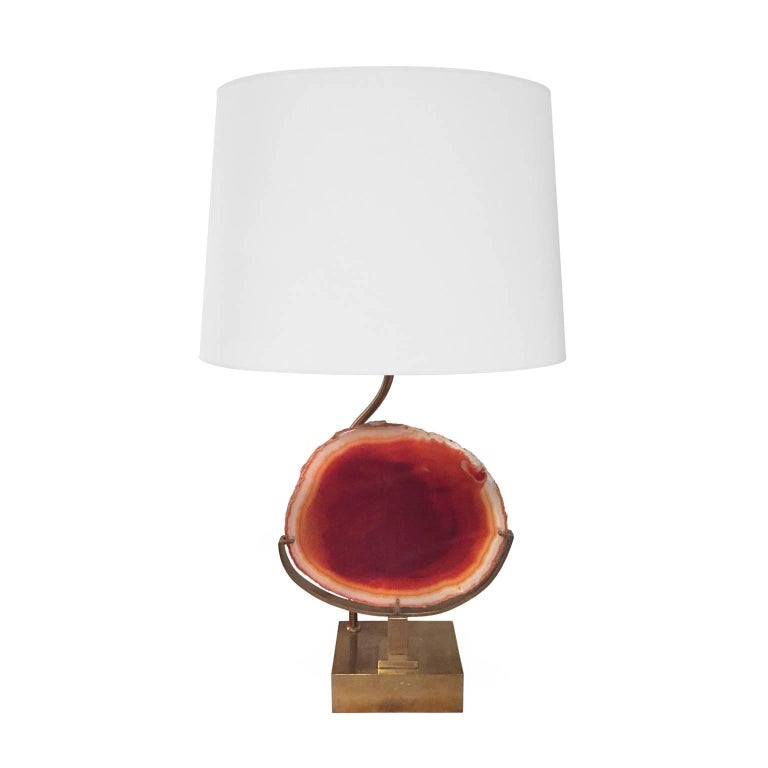 1970s Brass Table Lamp with Round Agate Slice by Willy Daro