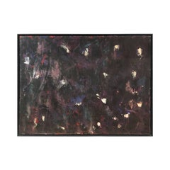 Midcentury French Abstract Painting in Black, Blue and Purple
