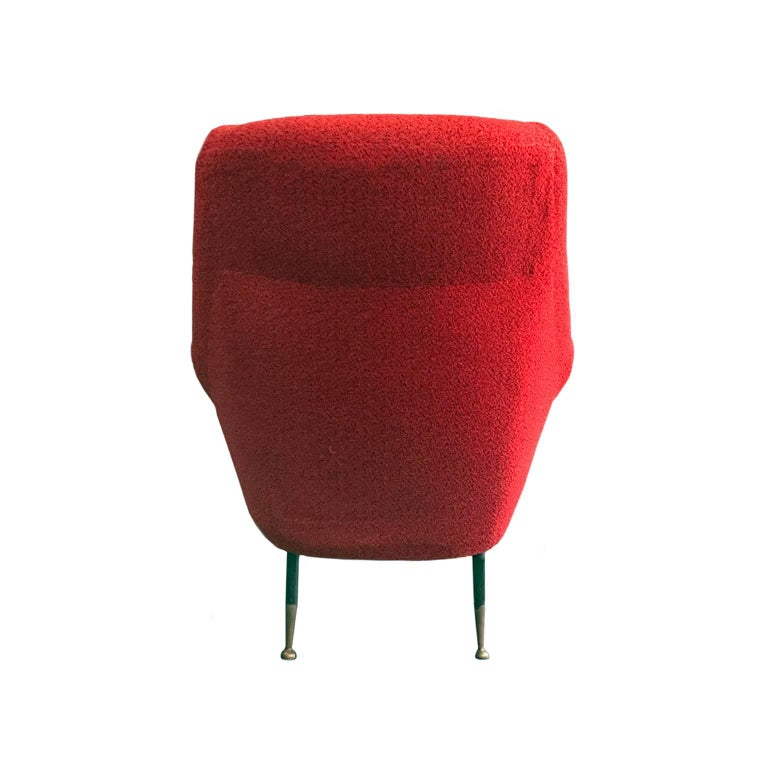 Italian Midcentury Rolled Armchair in Original Red Boucle with Iron Legs For Sale