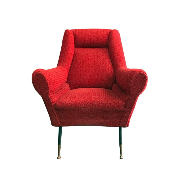 Midcentury Rolled Armchair in Original Red Boucle with Iron Legs In Good Condition For Sale In New York, NY