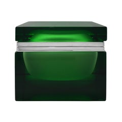 Handmade Giant Square Murano Glass Box in Green by Alessandro Mandruzzato