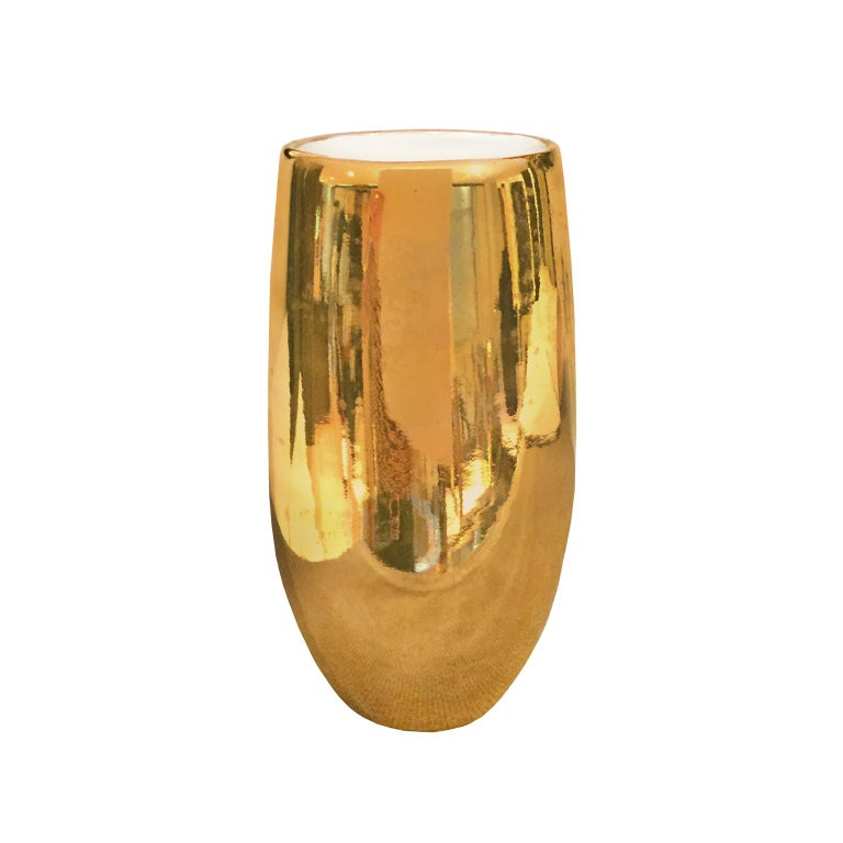 Wide Mouth Ceramic Column Vase with Polished 22k Gold Luster by Sandi Fellman