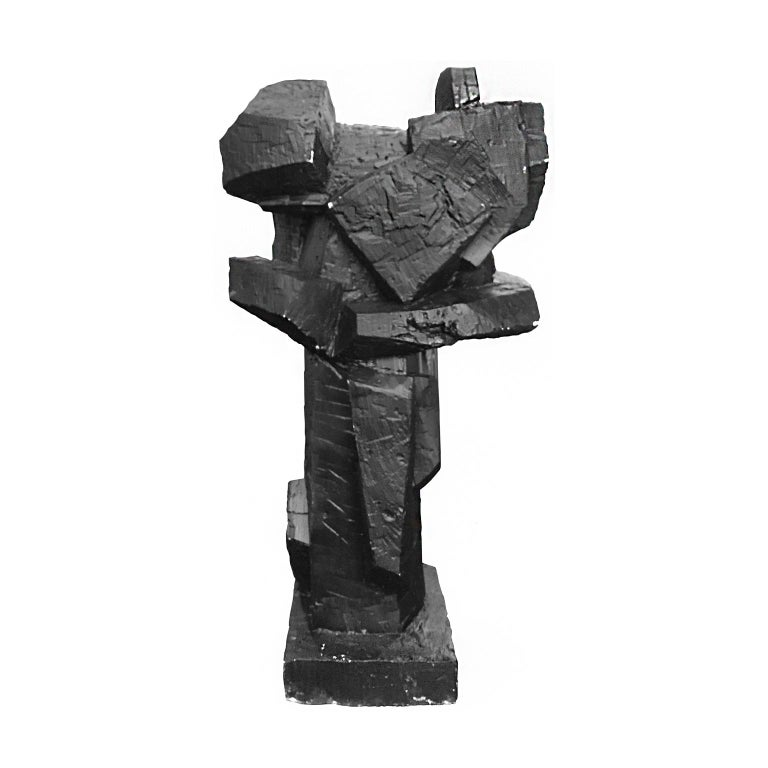 American 1970s Abstract Solid Cast Plaster Sculpture in Matte Black Finish For Sale