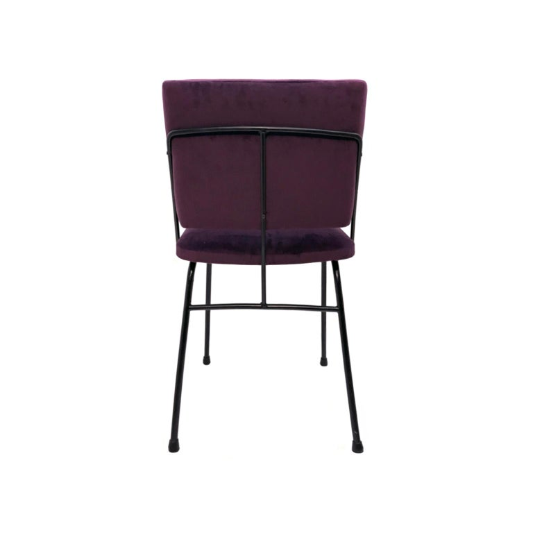 French 1960s Blackened Metal Occasional Chair in Purple Velvet For Sale