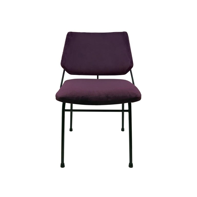 1960s Blackened Metal Occasional Chair in Purple Velvet In Excellent Condition For Sale In New York, NY