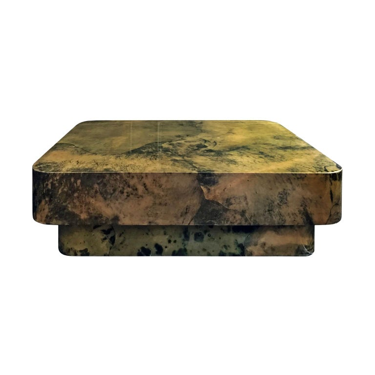 1970s Lacquered Green Parchment Coffee Table For Sale