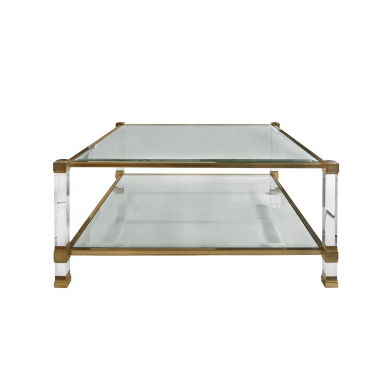 1970s Square Two-Tier Brass and Lucite Coffee Table