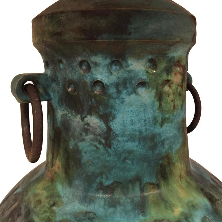 Alvino Bagni for Raymor ceramic jar lamp with handles and iron rings in blue green glaze, Italy, 1960s.