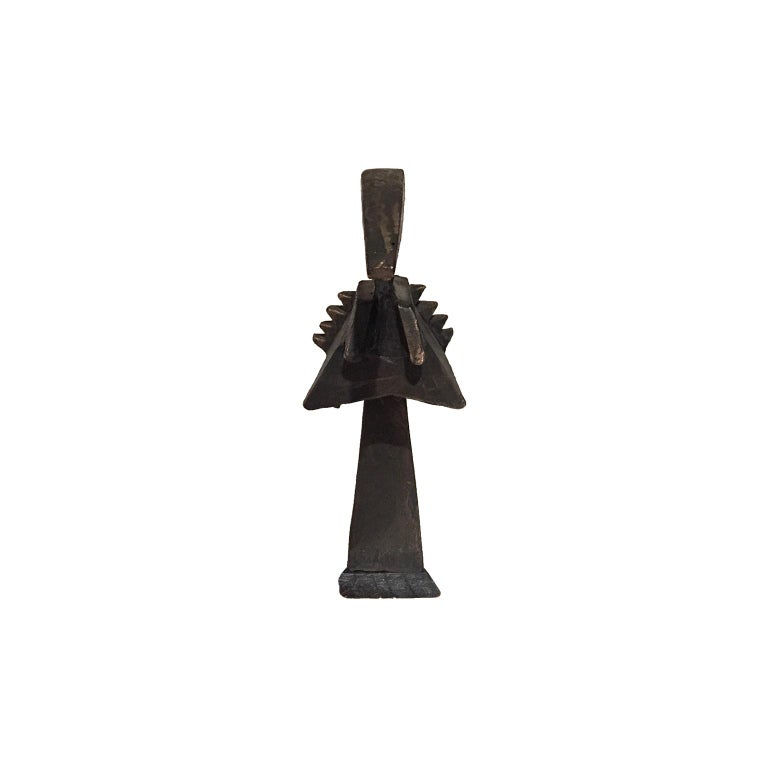 Abstract modernist bronze bird form sculpture on ebonized wood base, USA, 1970s.