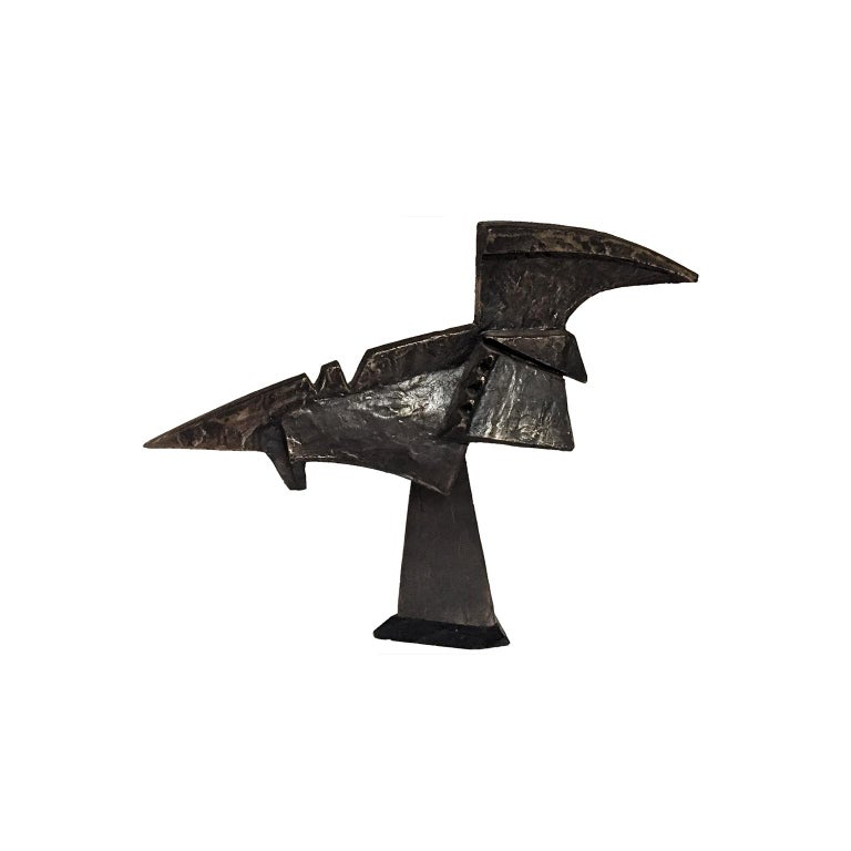 American 1970s Abstract Modernist Bronze Bird Form Sculpture on Ebonized Wood Base For Sale