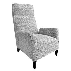FLAIR Home Collection Custom Torino High Back Chair in Black and White Bouclé