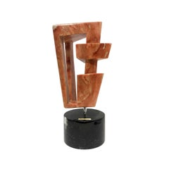 1970s Geometric Coral Marble Sculpture on Marble Base