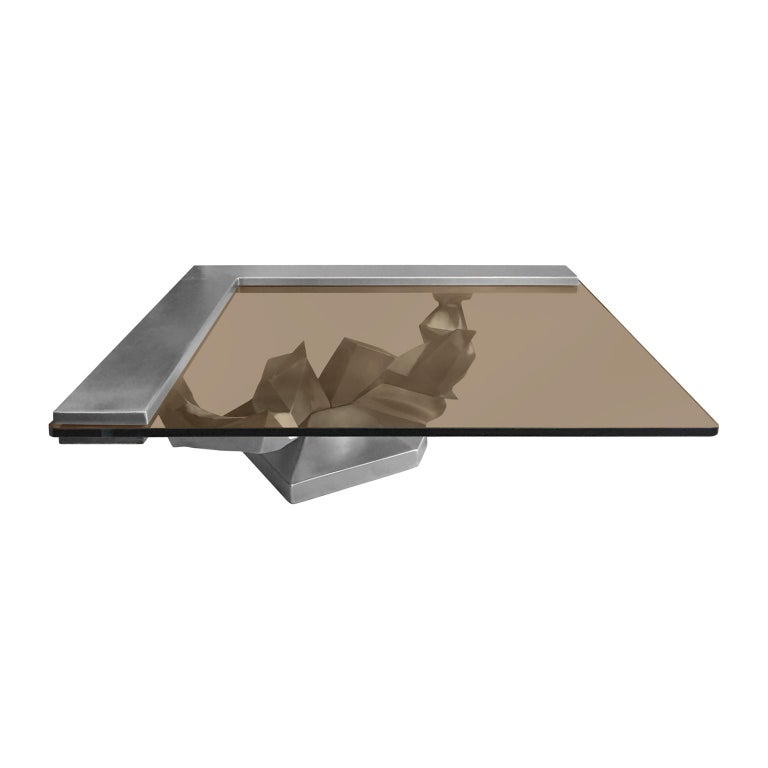 1970s Sculptural French Brushed Stainless Steel Coffee Table