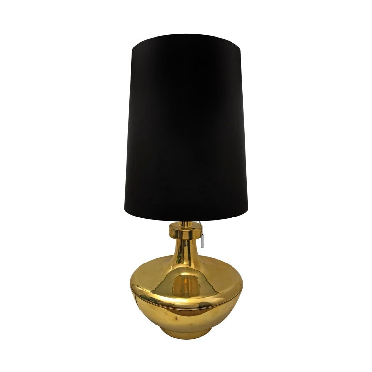 1970s Spanish Polished Brass Jar Lamp with Tall Black Drum Shade For Sale